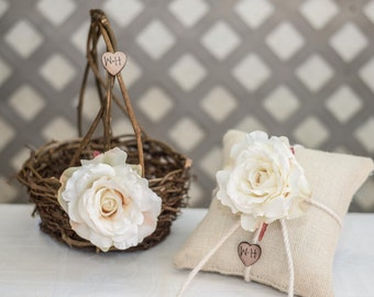 Cream Rose Twig round personalized wedding small rustic flower girl basket and ring bearer pillow. Customize with flower and initials