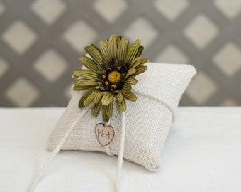 Custom burlap ring bearer pillow you pick the daisy flower with bride and groom initials stamped on wood heart