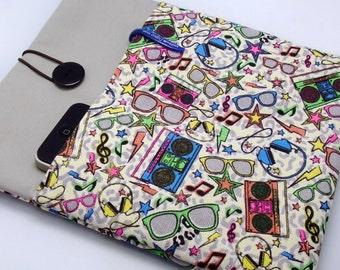 SALE - iPad Air case, iPad cover, iPad sleeve with 2 pockets, PADDED - Glasses (90)