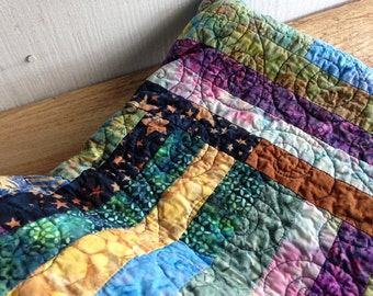 Pretty Fencerails Improv Batik Quilt - Throw sized Quilt - Handmade Ooak