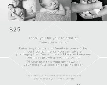 Referral voucher/coupon for photographers, thank you and welcome  5x5 (2 psd files)