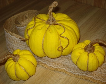 Stuffed fabric pumpkins -  Set of 3, Decorative pumpkins, Thanksgiving decor, Autumn Home decor, Fall decor, Halloween decor, Display decor