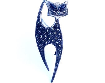 Art Deco Sterling Silver Marcasite Cat Brooch with Onyx Eyes Vintage Figural Fashion Jewelry