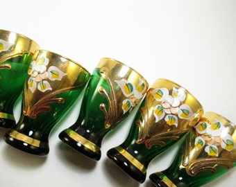 Emerald Green and gold glasses (set of 6) / Bohemian Venetian style gilt hand painted shot glasses