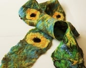 Felted, cobweb, scarf, yellow, green, blue, sunflower, floral, hip belt, long scarf, mother's day gift idea, for her,handmade, spring trends