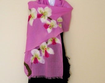 Nunofelted wrap, wool shawl, orchid, white, lilac, textile scarf, floral design, prom, wedding, for mom, for her, fashion clothing, unique