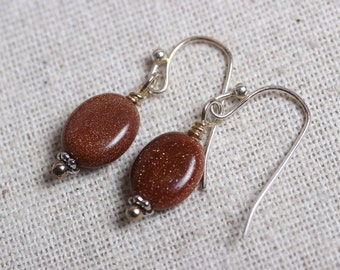 Goldstone Oval Bead and Silver Accent Earrings - Earthy, Rust, Sparkle
