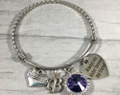 Bridesmaid Wedding Jewelry, Stackable Bangle, Alex and Ani Inspired, Tanzanite Purple, Maid of Honor, Sister of the Bride, Initial Jewelry
