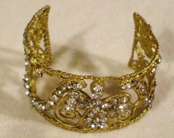 Vintage Rhinestone & Brass Cuff Bracelet