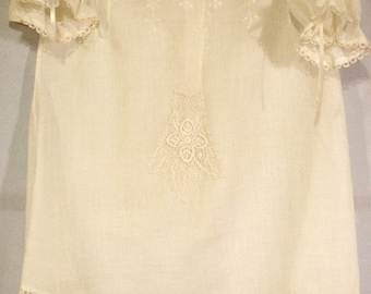 1873 Linen & Tatted Lace Handmade Antique Baby Christening Outfit set