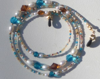 """Eyeglass Chain Amber and Aqua Blue with Freshwater  Pearl Accents Glass Seed Beaded 28"""" Handmade in USA Light Strong Fancy Ends"""