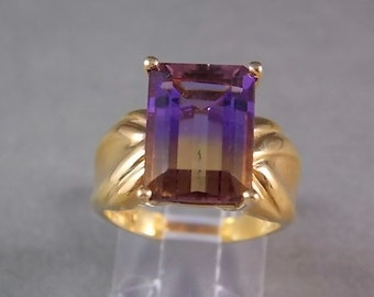 Ametrine Solitaire Ring 7.25Carats Yellow Gold 10K 6.3gm Size 7.25 Emerald Cut