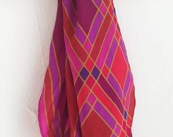 vintage bright fuschia mod square silky scarf