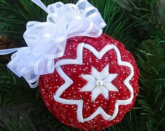 Quilted Ornament - 2.5 inch - Tiny White Leaves on Red Fabric, White Bow - Christmas Ornament, Ornament Exchange Gift, Co-Worker Gift