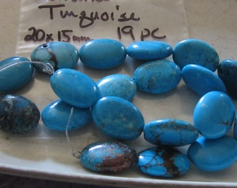 Genuine Blue Turquoise 20x15 mm 19 pcs.