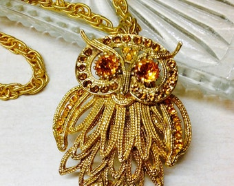 Vintage 1970s Gold Jeweled Owl Articulating Necklace