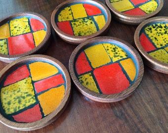 Vintage 60s MCM Coasters Mosaic Tile & Wood Midcentury Mid Century Modern Danish Style Modernist Home Decor Orange Yellow Eames Panton Era 6