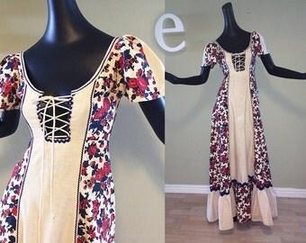 Vintage 70s Hippie Boho Festival Dress Renaissance Fair Medieval Wench Peek-a-boo Lace Up Bust Flutter Sleeve Peasant Prairie Maxi Dress XS