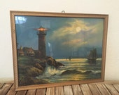 Reserved for Deb......Vintage Scenic Lighthouse Lithograph in Wood Frame