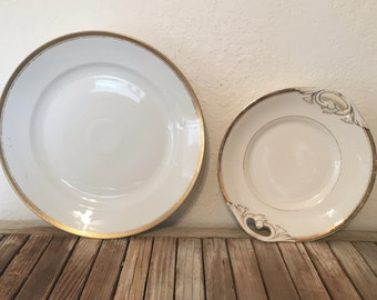 Vintage pair of Collectible M Z Altrohlau Maria Theresia Carlsbad China Gold Platter Czechoslovakia