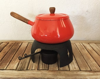 Mid Century Orange Fondue Pot with Stand Made in Japan