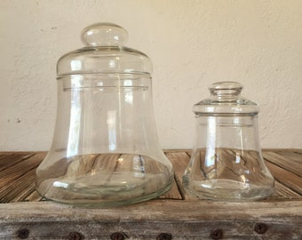 Vintage Set of Apothecary Jars Glass Bell Jar Canisters