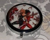 Metal Compact Mirror made from Upcycled Misty Knight and Valkyrie Comic Book Artwork