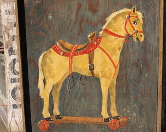 Vintage Toy Horse Painting - Child's Room Decor - Home Decor