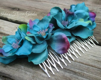 Teal, Turquoise and Purple Delphinium hair flower clip, realistic, on wide metal comb