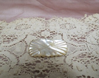 Vintage Carved Mother Of Pearl Brooch Brass C Clasp