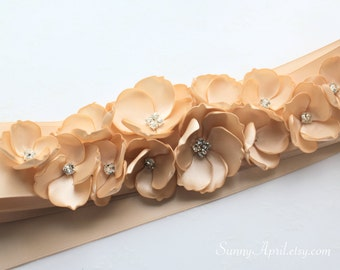 Beige Champagne Sash/ CHOOSE YOUR COLOR Sash/ Bridal Wedding Ribbon Sash/ Handmade Accessory