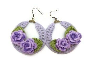 Purple Crochet Hoop Earrings with Purple Roses, Country Chic Earrings Jewelry, Miniature Crochet Rose, Purple Rose Earrings, Gift For Her