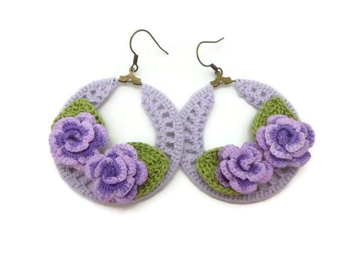 purple crochet hoop earrings with purple roses country chic