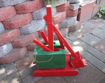 Vintage Wooden Steam Shovel Digger. Wooden Play Toy Steam Shovel. Toy Construction Vehicle. Digger. Wooden Toys Back hoe