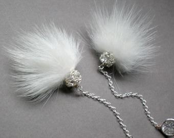 Chic Bridal Mink Earrings.. Rhinestone Dangle Design - Bridemaids. Prom Evening Wear. Elegant Gypsy Wedding