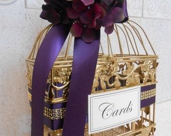 15% OFF SALE Small Gold Wedding Birdcage Card Box / Wedding Card Holder / Gold Birdcage / Purple Wedding / Wedding Decor / Cardbox