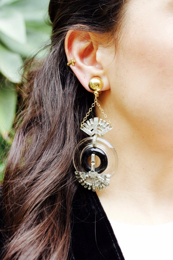 Art Deco Rhinestone Vintage Gatsby Boho Nouveau Earrings Glass Dress Fur Shoe Buckle Clip Chandeliers