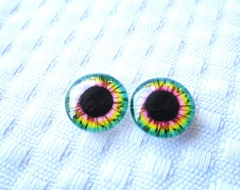 Glass eyes for dolls, sculpture, and crafts 14mm cabochons