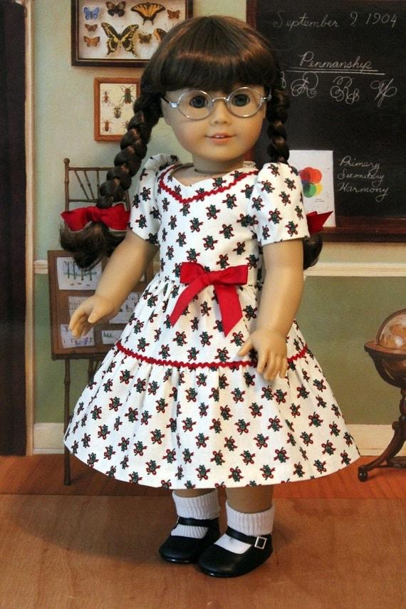 NEW SALE PRICE 1940's Christmas Dress for Dolls Like Molly Molly Hooper Christmas Dress