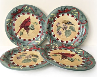 Lenox Winter Greetings Cardinal Goldfinch Holiday Dinner Plates