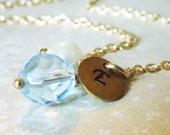 Pastel Blue Jewelry Blue Bridesmaids Necklace Light Blue Jewelry Initial Bridesmaids Jewelry Baby Blue Wedding Jewelry Powder Blue Necklace
