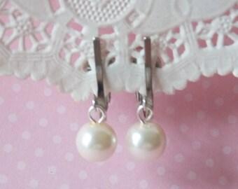 Flower Girl Clip On Earrings Flower Girl Jewelry Non Pierced Girl Earrings Wedding Party Pearl Jewelry Flower Girl Pearl Earrings Ivory