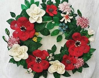 Poppy Bead Flower Wreath