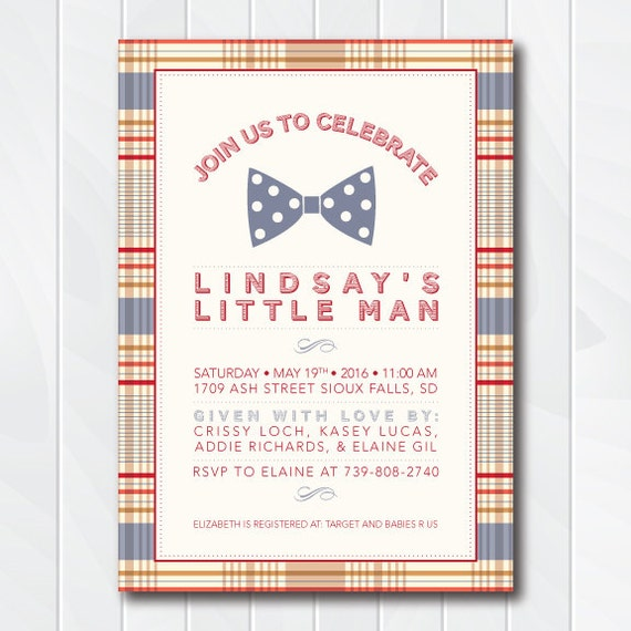 Vintage Bow Tie Baby Shower Invitation, Little Man Invitation, Bow Tie Invite, Little Man Birthday Party, Polka Dots, Plaid, Printable #0107