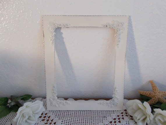 Beautiful Ivory Rose Shabby Chic Wedding 8 x 10 Picture Frame Up Cycled Vintage Photo Decoration Ornate Floral Flower Design Country Cottage