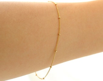 Delicate Gold Bracelet, Thin and feminine, Minimum Jewelry, Gold Dot Chain, everyday jewelry , Gold Satellite Chain Bracelet