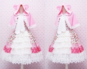 Pink Flower Sweet Lolita Dress - Rococo Retro Vintage Inspired - Ruffle Tiered Tea Party Dress - Kawaii Clothing