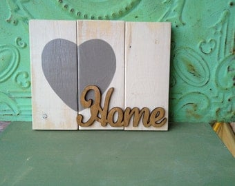 Rustic Home Pallet Wood Sign, Ivory and Gray Home Sign, Mantle Home Sign, Distressed Wood Signs
