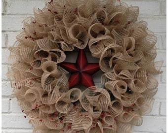 Simply Rustic  Everyday, Americana, Holiday, Patriotic Primitive Jute Mesh Wreath