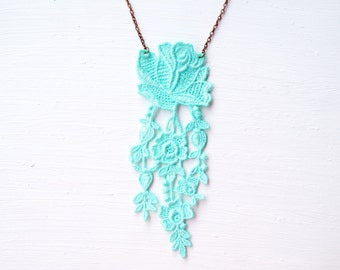 Long Blue Lace Statement Necklace